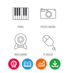 Piano web camera and photo camera icons vector