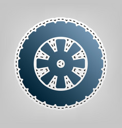 Road tire sign blue icon with outline for vector
