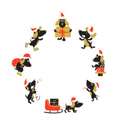round frame with funny dogs in christmas hats vector image