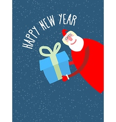Santa Claus gives reat gift holiday card vector image