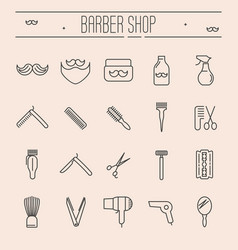 Set of minimalistic barber shop icons vector