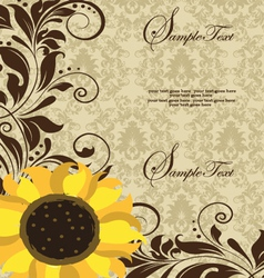 Sunflower wedding invitation vector