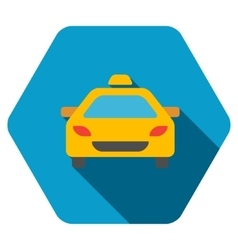 Taxi Car Flat Hexagon Icon with Long Shadow vector image