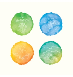 Watercolor stains hand drawn doodle elements hand vector