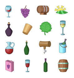 Wine yard icons set cartoon style vector