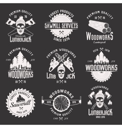 Woodworks Monochrome Emblems vector image