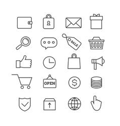 E-commerce shopping thin line icons set vector