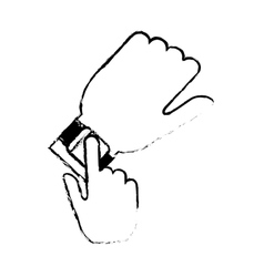 hand with smart watch trendy wearable technology vector image