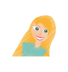 drawing blonde girl smile funny vector image