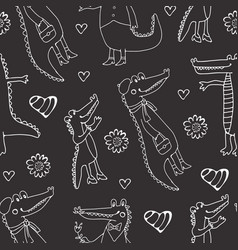 Black and white seamless pattern with crocodiles vector