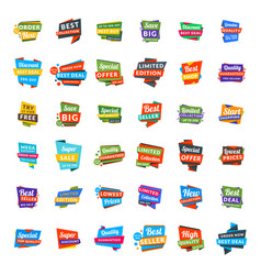 Big set of colorful discount and promotional sale vector