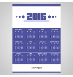2016 simple business wall calendar with white vector image vector image