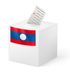 Ballot box with voting paper laos vector