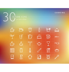 Cooking and food outline icons set vector