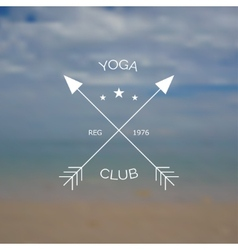 Yoga club logo on blurry photo of sea vector