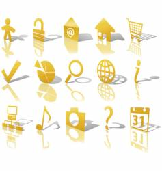 web gold button icons vector image