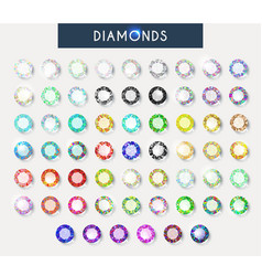 Big set 60 realistic colorful crystals light vector