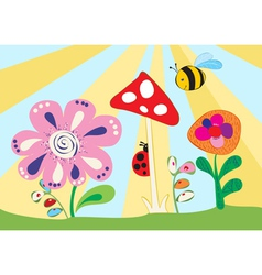 Cheerful childrens meadow vector