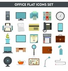 Modern cartoon icons set of office equipment vector image