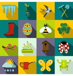 Spring icons set flat style vector image