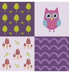 Baby shower pattern with a cute owl vector