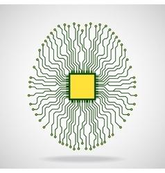 Brain cpu circuit board vector