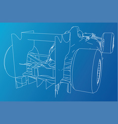 Back view race car abstract drawing tracing vector