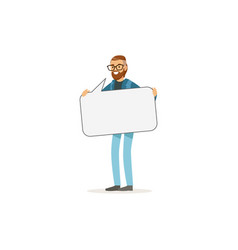 bearded man character with empty message board vector image vector image