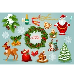Christmas day holidays celebration icon set vector