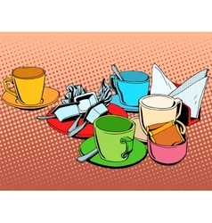 Coffee table with cups vector