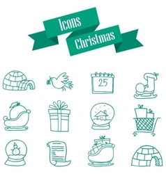 Collection of green icon christmas style vector
