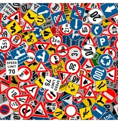 Different road signs seamless pattern vector image vector image