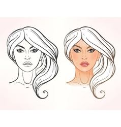 Female face chart Makeup Artist Blank vector image