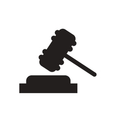 Flat icon in black and white gavel vector