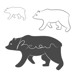 Grizzly bear silhouette shape logo isolated vector