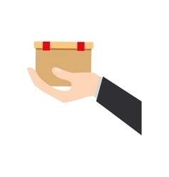 Hand holding cardboard box delivery vector