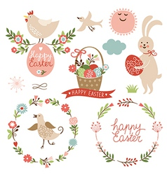 Happy easter graphic elements vector image vector image
