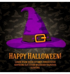 Happy halloween greeting card with hat of the vector