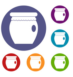 Honey bank icons set vector