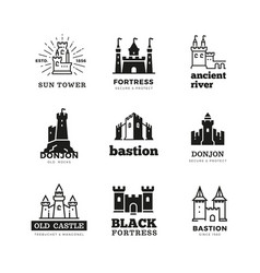 Medieval castle and knight fortress ancient vector