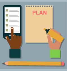 notebook agenda business note plan work vector image