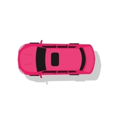 Pink car top view flat design vector