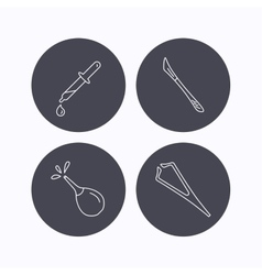 Pipette medical scalpel and clyster icons vector image