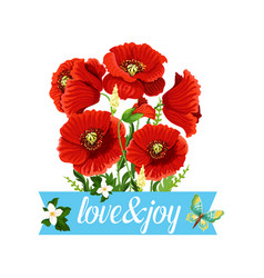 poppy flowers bouquet spring floral icon vector image