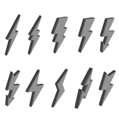 Set of 3D lightning bolts and signs vector image