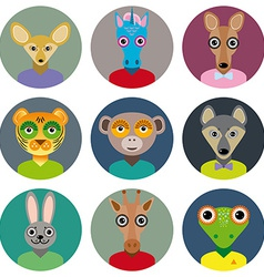Set of animals faces circle icons set in trendy vector