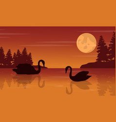 Silhouette of swan on lake nature landscape vector