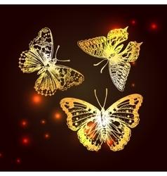 sketching of butterflies vector image vector image