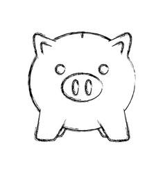 Uncolored piggybank vector