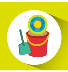Vacation around world sunny sand bucket vector